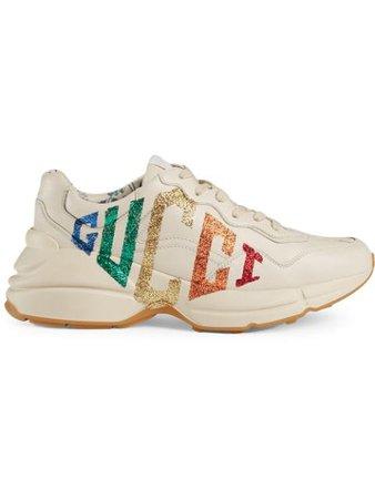 Gucci Women's Rhyton Glitter Logo Leather Sneakers In White | ModeSens