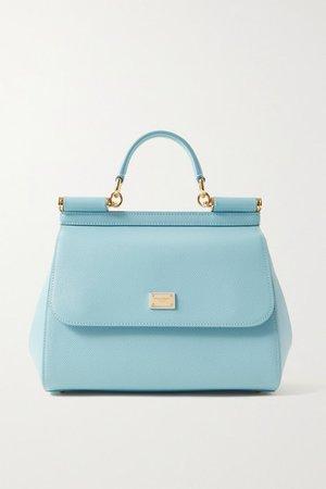 Sicily Medium Textured-leather Tote - Sky blue
