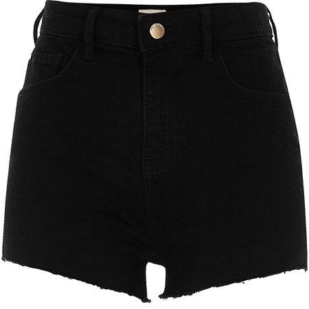 Black high waisted stretch hot pants - Denim Shorts - Shorts - women