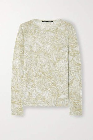 Printed Slub Cotton-jersey T-shirt - Green