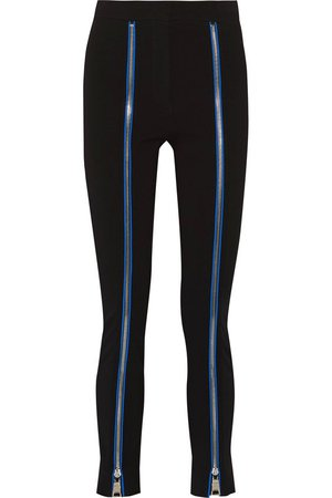 EMILIO PUCCI Zip And Silk-Trimmed Stretch-Ponte Skinny Pants.
