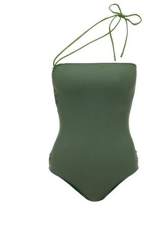 Alassio One Shoulder Swimsuit - Womens - Green