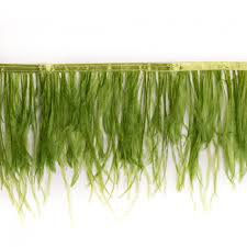 green ostrich feather fringe