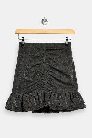 Silver Ponte Ruched Mini Skirt