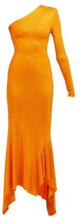 Crystal Embellished Asymmetric Fishtail Gown - Womens - Orange