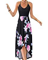 Blooming Jelly Women's Deep V Neck Sleeveless Summer Asymmetrical Floral Maxi Dress at Amazon Women's Clothing store