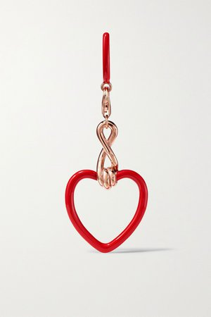 Red 9-karat rose gold and enamel earring | Bea Bongiasca | NET-A-PORTER