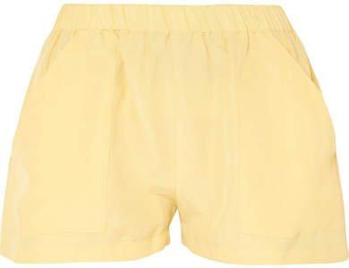 Matin MATIN - Racer Silk And Linen-blend Shorts - Pastel yellow
