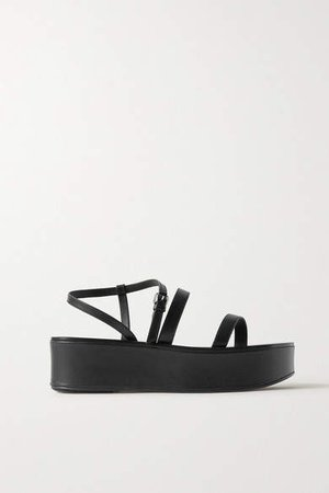 Wedge Leather Platform Sandals - Black