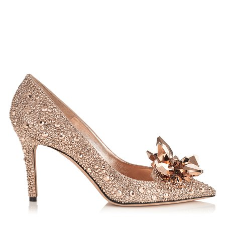 Rose gold crystal pointed toe pumps