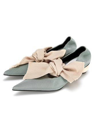 Front Ties Pointed Heel Sage | W Concept