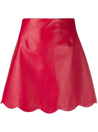 Miu Miu scalloped-edge A-line skirt red MPD632038 - Farfetch