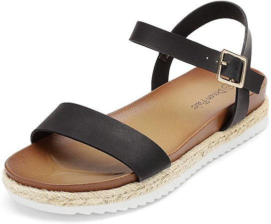 Amazon.com | DREAM PAIRS Women's Black Pu Open Toe Ankle Strap Espadrille Casual Flatform Platform Wedge Sandals Size 7 M US Sunna | Platforms & Wedges