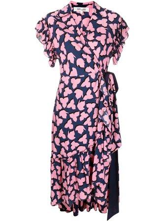 Shop blue & pink DVF Diane von Furstenberg V-neck wrap dress with Express Delivery - Farfetch