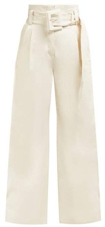 High Rise Wide Leg Jeans - Womens - Ivory