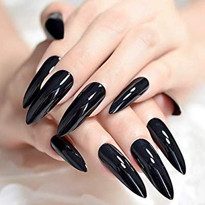 Amazon.com: CoolNail Extra Long Sharp Classic Solid Black Stiletto False Nails Tips Oval Stilettos Bright Black UV Gel Salon Acrylic Fake Nail Art: Beauty