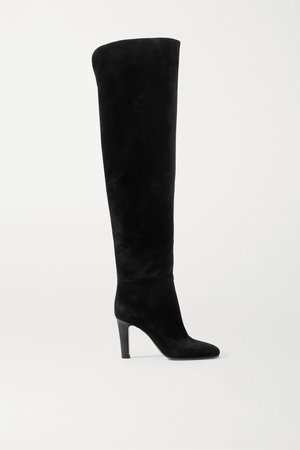 Black Blu suede over-the-knee boots | SAINT LAURENT | NET-A-PORTER