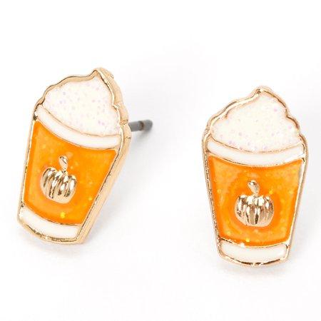 Silver Pumpkin Spice Latte Stud Earrings | Claire's US