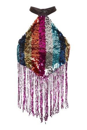 Festival Rainbow Sequin Halter Neck Top | Topshop