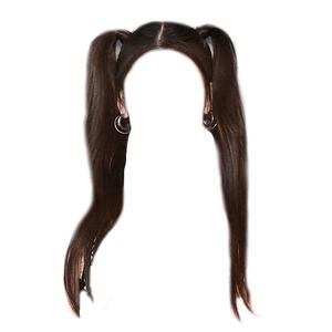 Black Brown Pigtails PNG