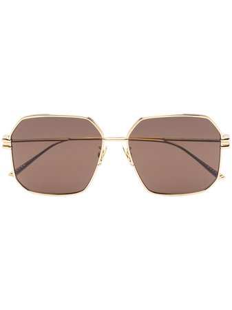Bottega Veneta Eyewear Gold Tone Square Frame Sunglasses - Farfetch