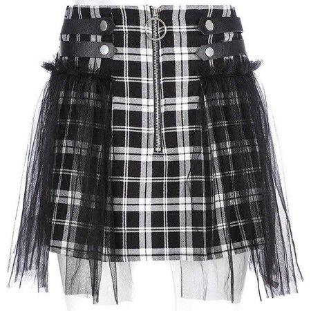 Plaid Mesh Skirt - Own Saviour