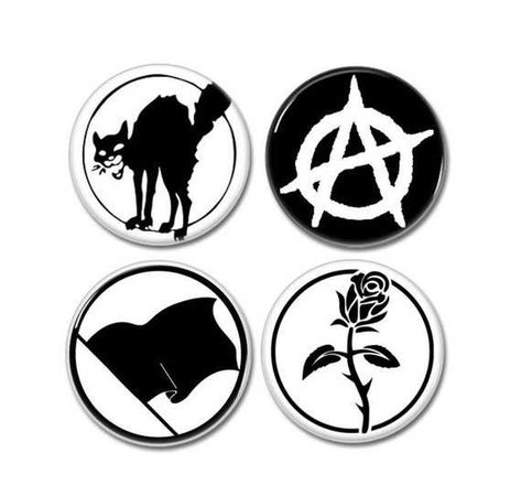 ANARCHY symbols buttons set of 4 badges pins botones