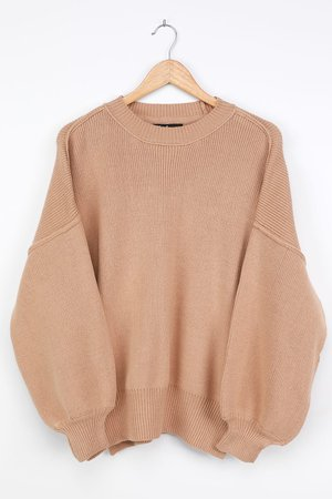 Cute Beige Knit Sweater - Oversized Sweater Balloon Sleeve Top - Lulus