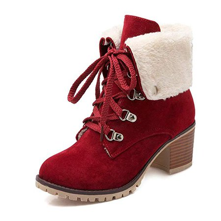 Amazon.com | DecoStain Women's Classic Lace Up Buckle Ankle Boots Ladies Fall Winter Keep Warm Short Boots Wine Red | Ankle & Bootie