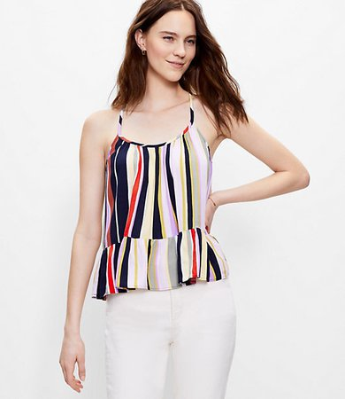 Striped Shirred Peplum Cami