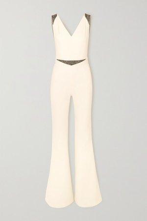 Draped Embellished Crepe Jumpsuit - Ivory