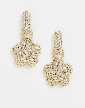 ASOS DESIGN earrings with luxe crystal flower drop in gold tone | ASOS