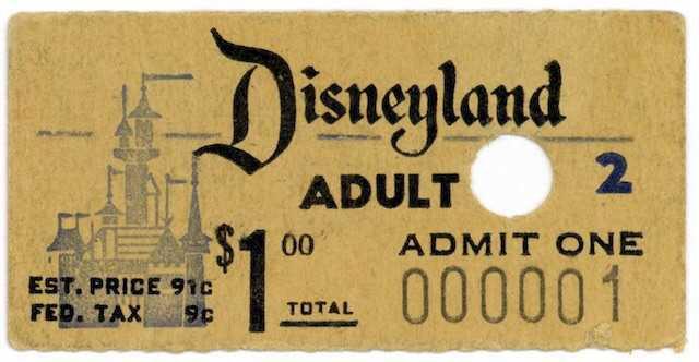 disneyland vintage ticket filler