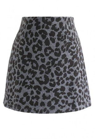 Leopard Print Wool-Blended Bud Skirt in Smoke - Skirt - BOTTOMS - Retro, Indie and Unique Fashion