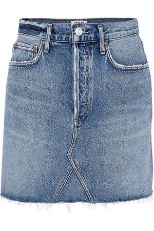 AGOLDE | Ada distressed organic denim mini skirt | NET-A-PORTER.COM