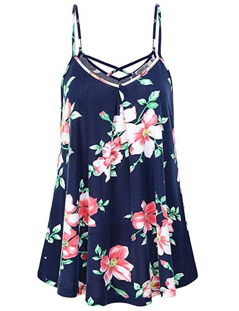 MOQIVGI Criss Cross Tank Top, Womens V Neck Spaghetti Strap Cami Fashion Casual Loose Fit Pleated Flowy Floral Tunic Tank Ladies Office Wear Sleeveless Camisole for Work Summer Clothing Blue Medium at Amazon Women's Clothing store: