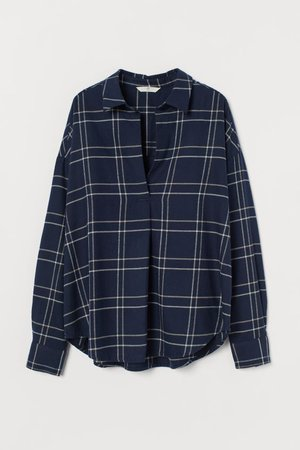 Cotton Flannel Blouse - Dark blue/checked - Ladies | H&M US