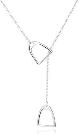 """Amazon.com: YFN Jewelry 925 Sterling Silver Simple Double Horse Stirrup Lariat Necklace Gift Birthday Day Jewelry 18"""" for Mom Women Wife: Jewelry"""