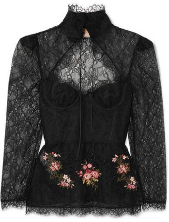 Oliera Tie-detailed Embellished Corded Lace Blouse - Black