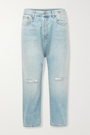 Cropped Distressed Straight-leg Jeans - Light denim