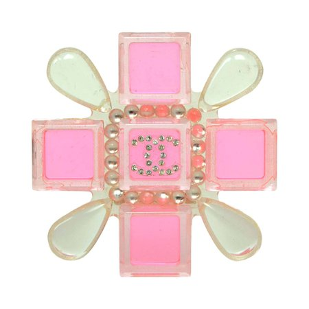 Chanel 2004 Pink and Clear Resin Maltese Cross Brooch Pin For Sale at 1stdibs
