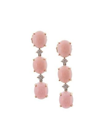 IRENE NEUWIRTH 18kt rose gold pink opal and diamond drop earrings