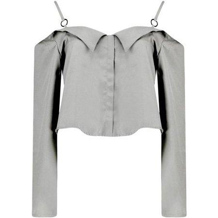 Boohoo Enya Woven Cold Shoulder Shirt