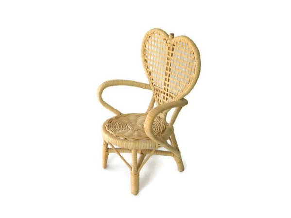 Vintage Blond Wicker Doll Chair Heart-Shaped 10 | Etsy