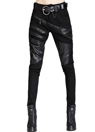 Minibee Women's Harem Patchwork Leather Pocket Punk Style Personalized Pants Black at Amazon Women's Clothing store