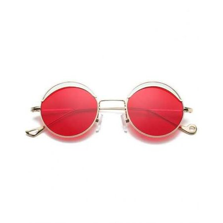 Round Two-tone Splicing Hollow Out Leg Sunglasses Bright Red