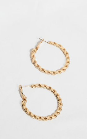 Gold Twist Link Small Hoop Earrings | PrettyLittleThing