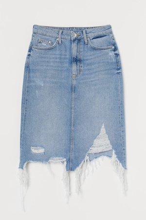 Trashed Denim Skirt - Blue