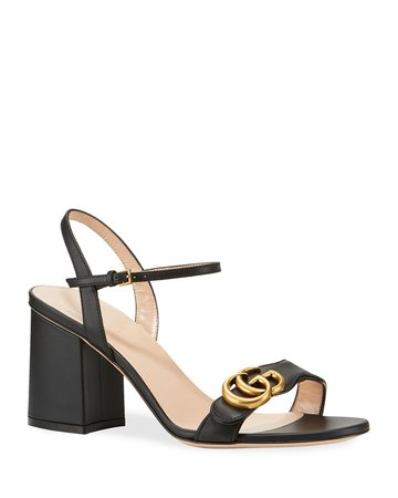 Gucci Leather GG Block-Heel Sandals | Neiman Marcus