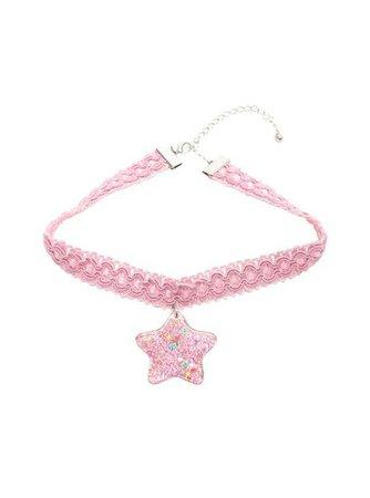 Blackheart Pastel Chunky Star Pink Crochet Choker,
